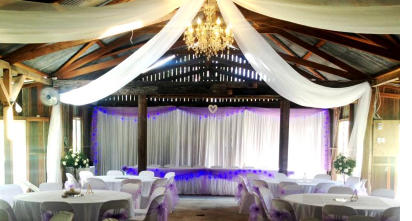 Hired ceiling drapes, wedding backdrop, table skirt, table cloths, chaircovers