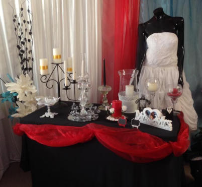 Wedding themes - hire items in 'Black White Red and Crystal'